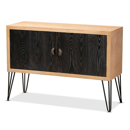 Baxton Studio Denali Modern and Contemporary Two-Tone Walnut Brown and Black Finished Wood and Metal Storage Cabinet
