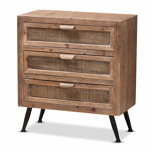 Baxton Studio Calida Mid-Century Modern Whitewashed Natural Brown Finished Wood and Rattan 3-Drawer Storage Cabinet