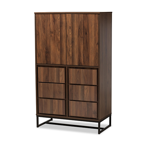 Baxton Studio Neil Modern and Contemporary Walnut Brown Finished Wood and Black Finished Metal Multipurpose Storage Cabinet