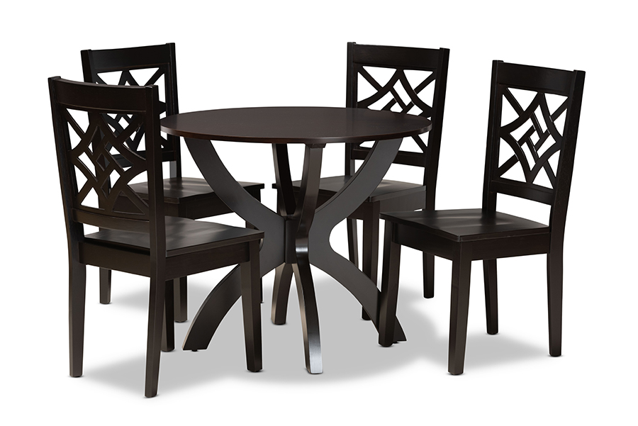 Baxton Studio Anila Modern and Contemporary Dark Brown Finished Wood 5-Piece Dining Set