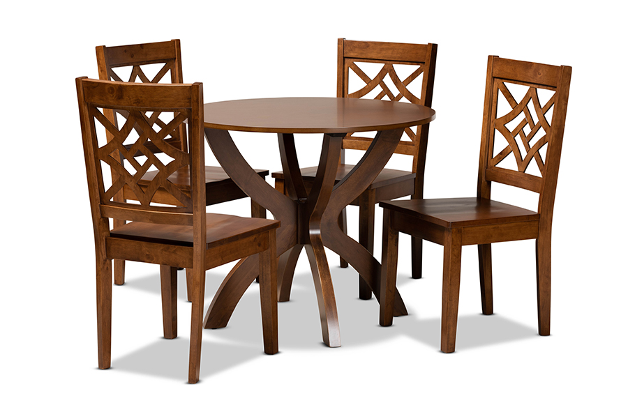 Baxton Studio Anila Modern and Contemporary Walnut Brown Finished Wood 5-Piece Dining Set