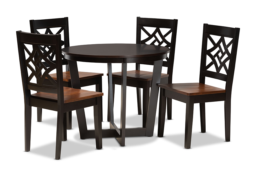 Baxton Studio Brava Modern and Contemporary Two-Tone Dark Brown and Walnut Brown Finished Wood 5-Piece Dining Set