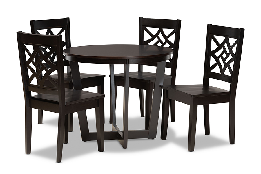 Baxton Studio Brava Modern and Contemporary Dark Brown Finished Wood 5-Piece Dining Set