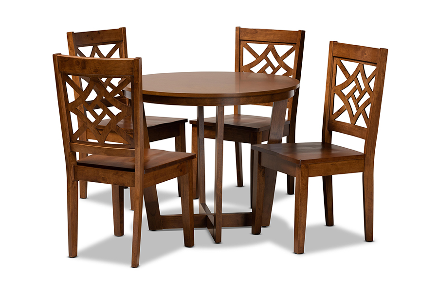 Baxton Studio Brava Modern and Contemporary Walnut Brown Finished Wood 5-Piece Dining Set