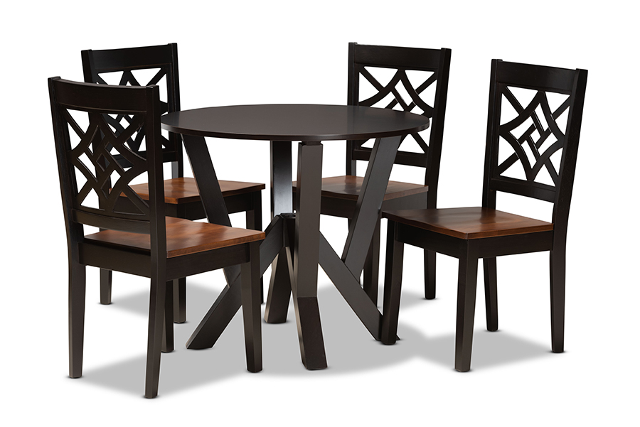 Baxton Studio Kaila Modern and Contemporary Two-Tone Dark Brown and Walnut Brown Finished Wood 5-Piece Dining Set