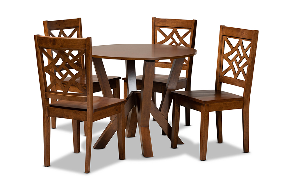 Baxton Studio Kaila Modern and Contemporary Walnut Brown Finished Wood 5-Piece Dining Set