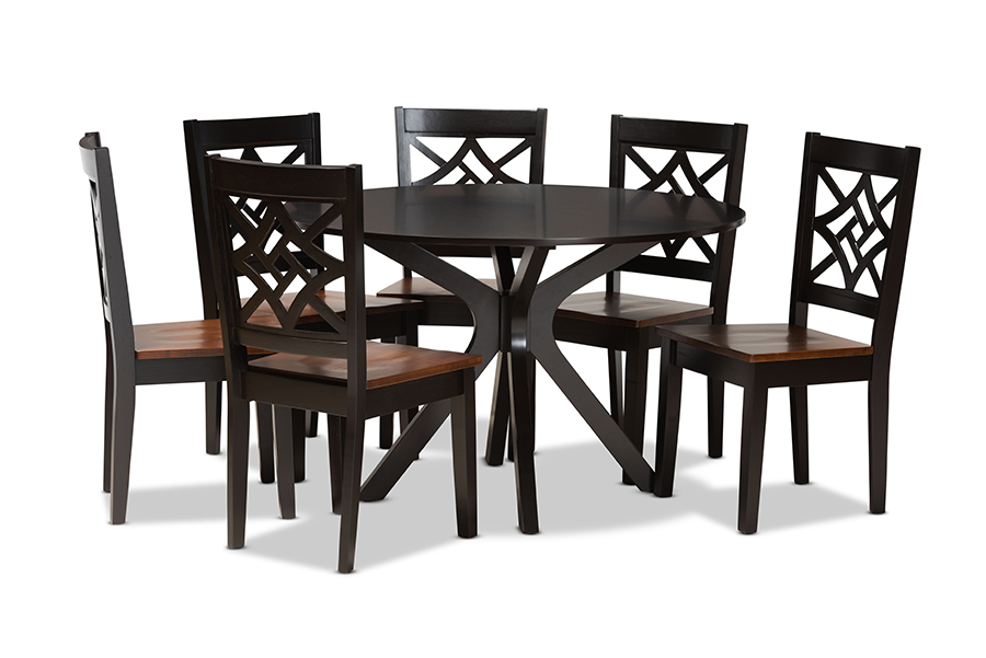 Baxton Studio Miela Modern and Contemporary Two-Tone Dark Brown and Walnut Brown Finished Wood 7-Piece Dining Set