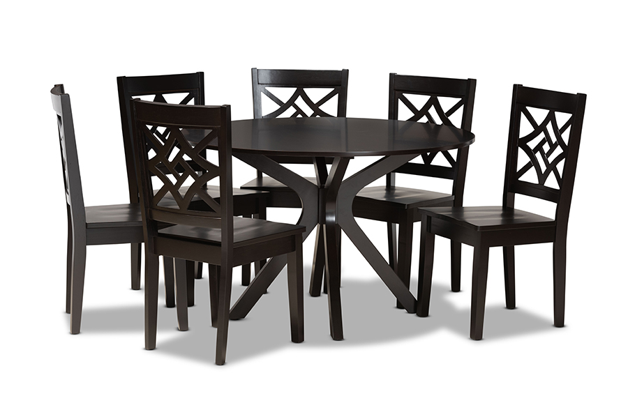 Baxton Studio Miela Modern and Contemporary Dark Brown Finished Wood 7-Piece Dining Set