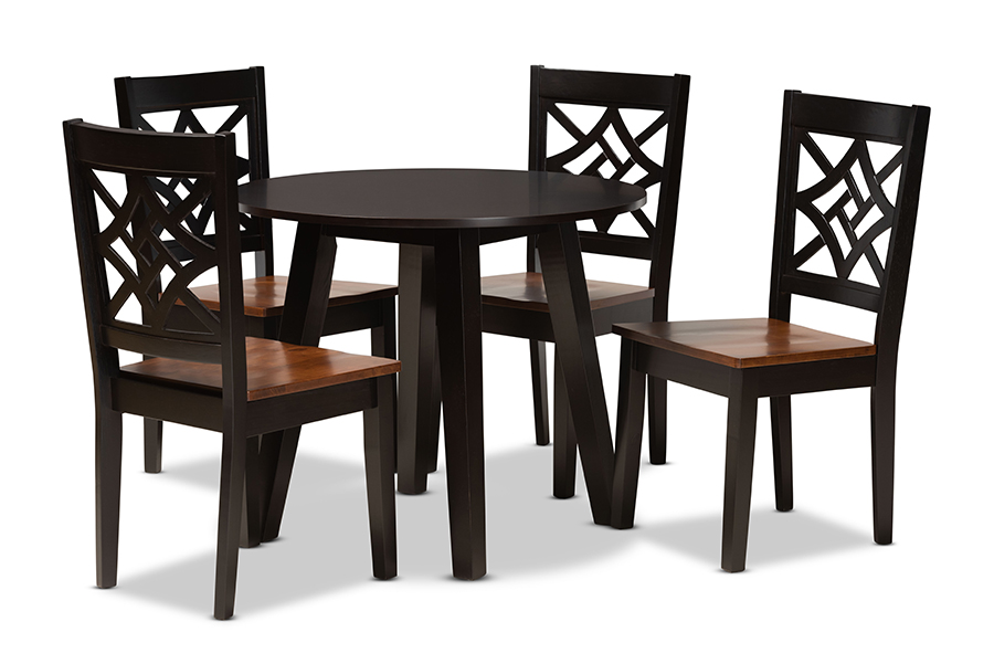 Baxton Studio Rava Modern and Contemporary Two-Tone Dark Brown and Walnut Brown Finished Wood 5-Piece Dining Set