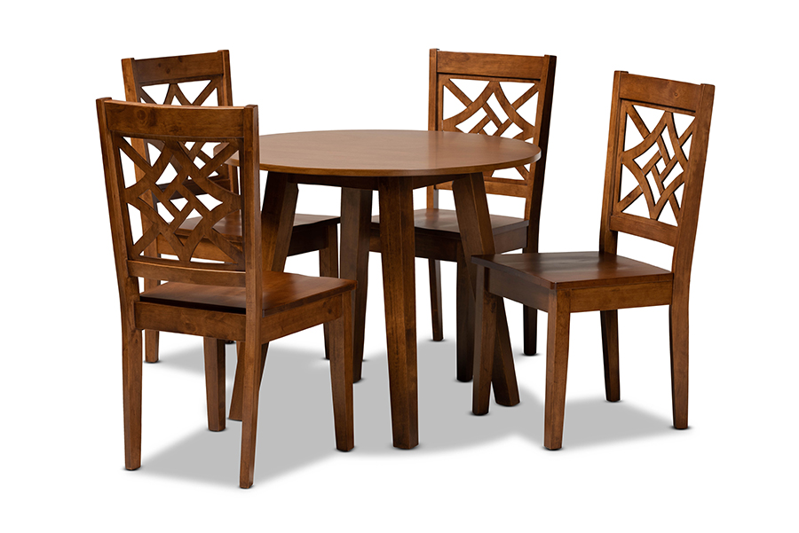 Baxton Studio Rava Modern and Contemporary Walnut Brown Finished Wood 5-Piece Dining Set