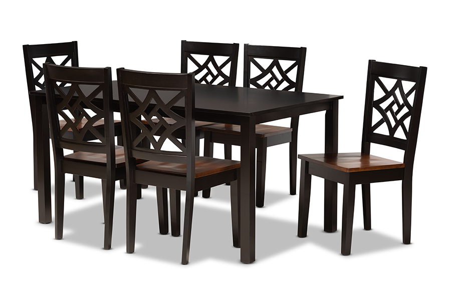 Baxton Studio Nicolette Modern and Contemporary Two-Tone Dark Brown and Walnut Brown Finished Wood 7-Piece Dining Set