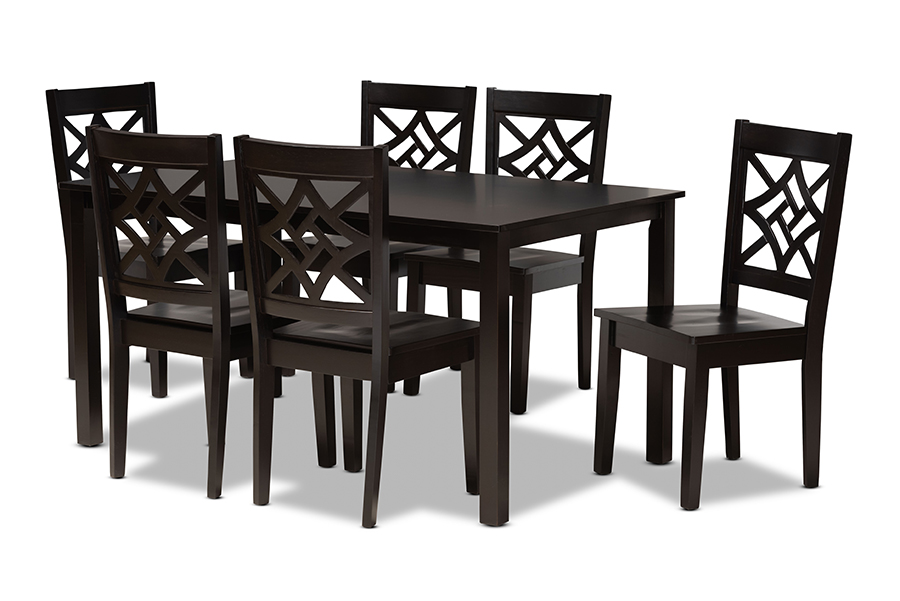 Baxton Studio Nicolette Modern and Contemporary Dark Brown Finished Wood 7-Piece Dining Set