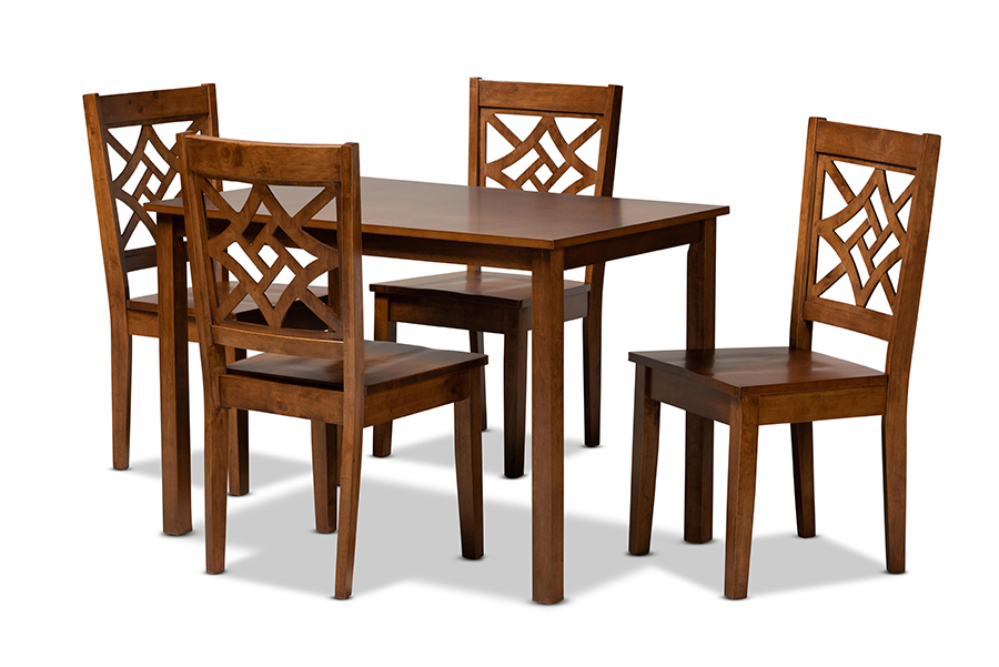 Baxton Studio Nicolette Modern and Contemporary Walnut Brown Finished Wood 5-Piece Dining Set