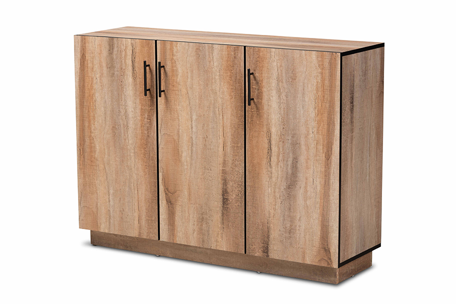 Baxton Studio Patton Modern and Contemporary Natural Oak Finished Wood 3-Door Dining Room Sideboard Buffet