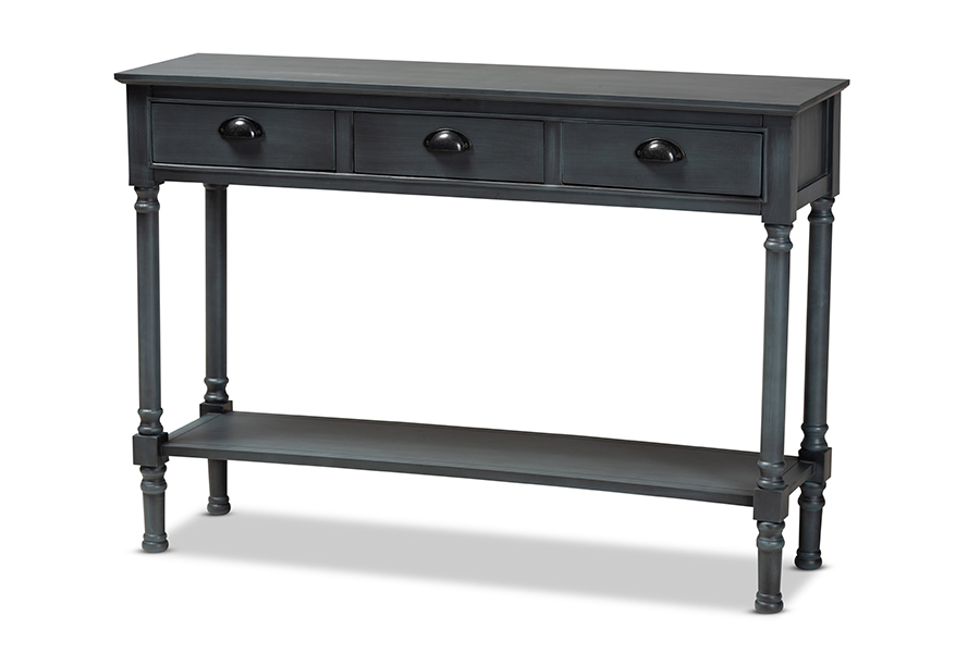 Baxton Studio Garvey French Provincial Grey Finished Wood 3-Drawer Entryway Console Table