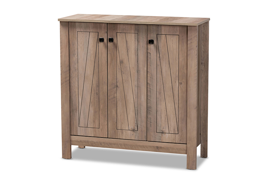 Baxton Studio Derek Modern and Contemporary Transitional Natural Oak Finished Wood 3-Door Shoe Cabinet