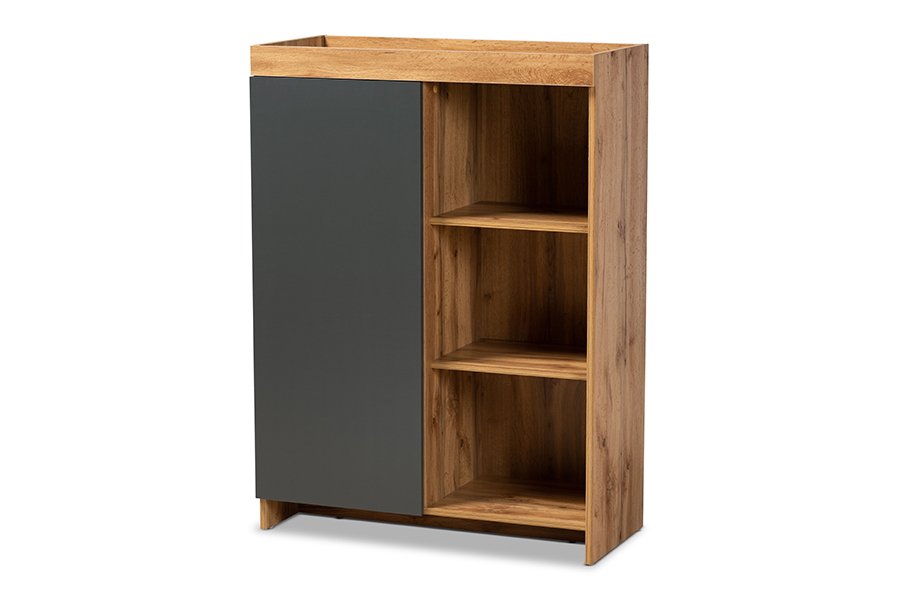 Baxton Studio Caspian Modern and Contemporary Two-Tone Grey and Oak Brown Finished Wood Shoe Cabinet