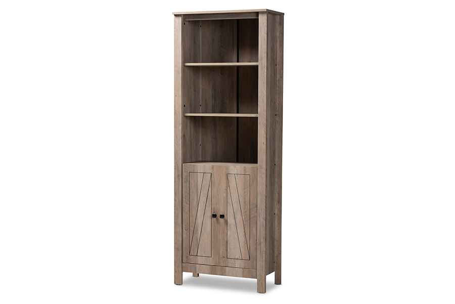 Baxton Studio Derek Modern and Contemporary Transitional Natural Oak Finished Wood 2-Door Bookcase