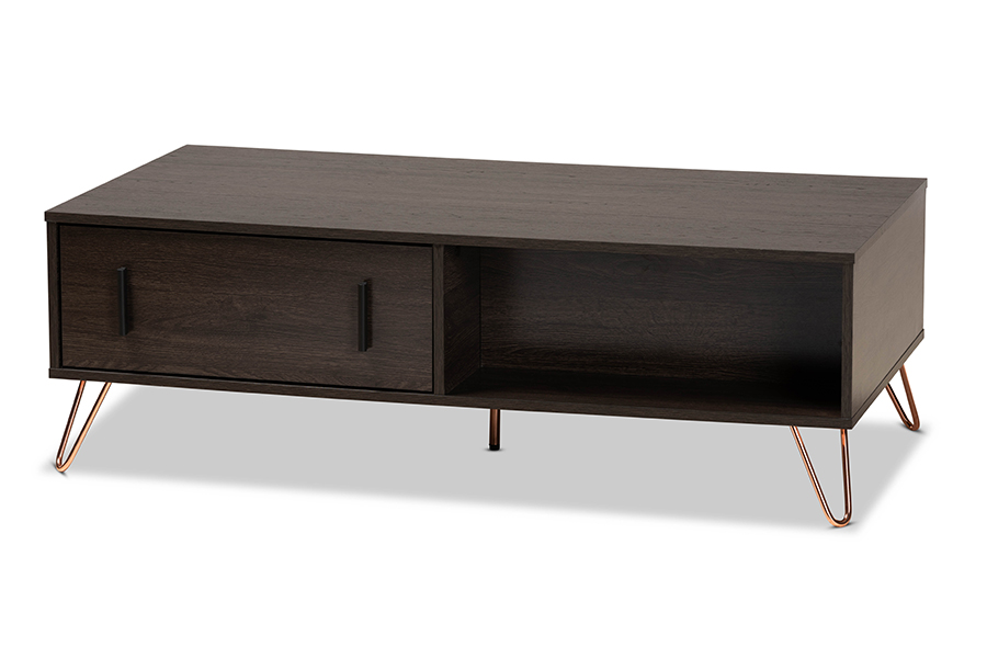 Baxton Studio Baldor Modern and Contemporary Dark Brown Finished Wood and Rose Gold-Tone Finished Metal 2-Drawer Coffee Table