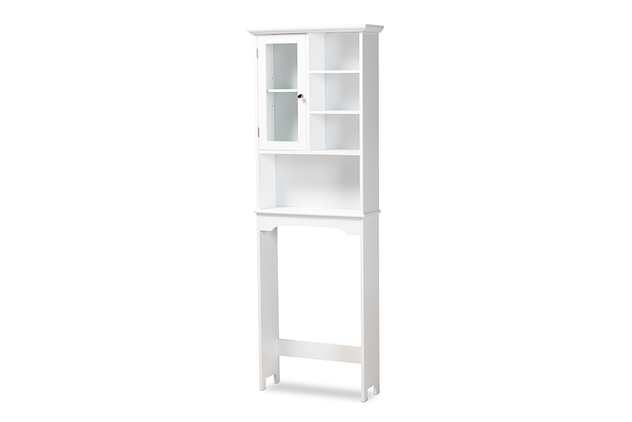 Baxton Studio Campbell Modern and Contemporary White Finished Wood Over the Toilet Bathroom Storage Cabinet
