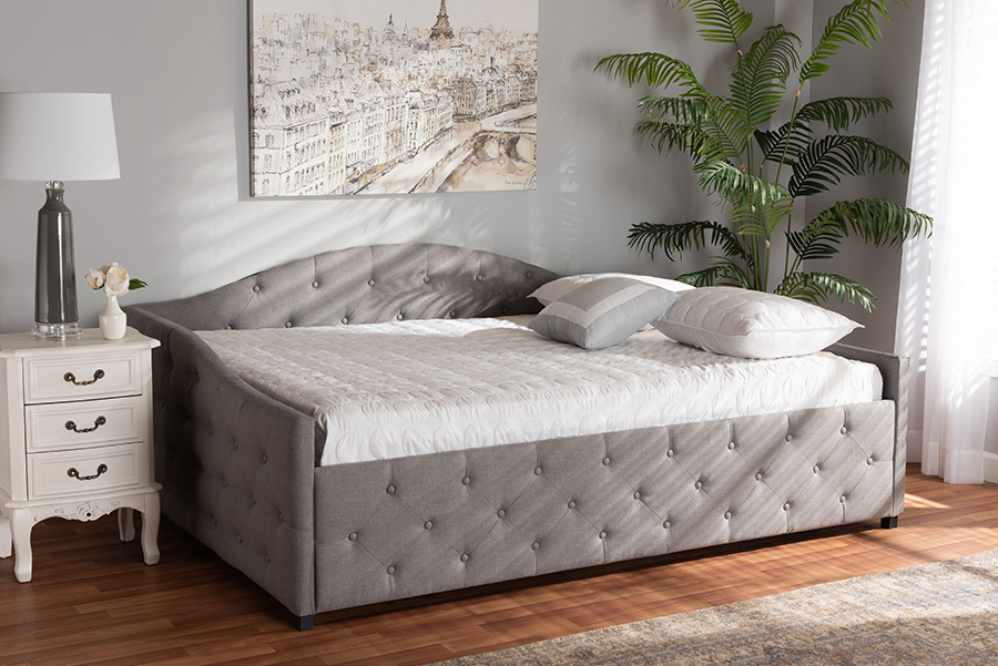 Baxton Studio Becker Modern and Contemporary Transitional Grey Fabric Upholstered Queen Size Daybed