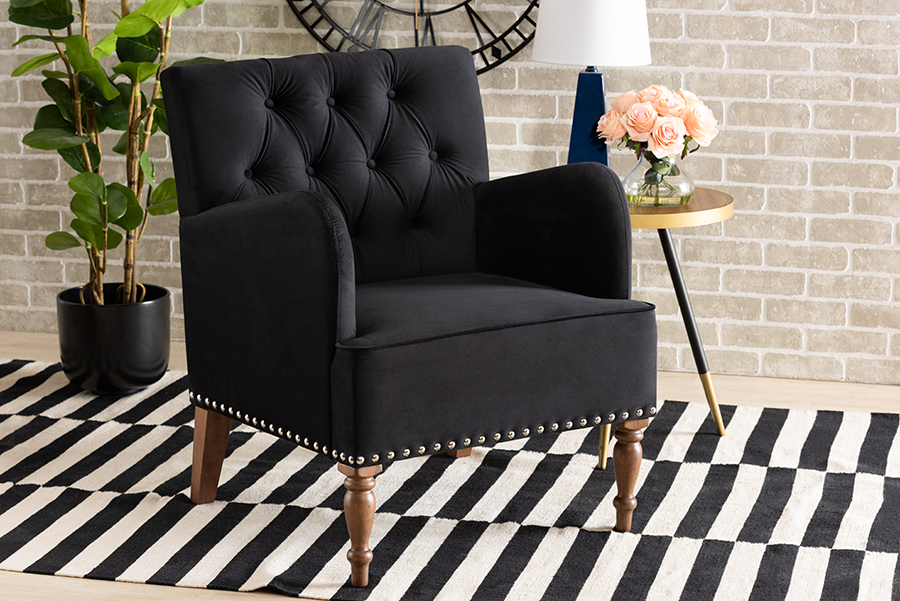Baxton Studio Eri Contemporary Glam and Luxe Black Velvet Upholstered and Walnut Brown Finished Wood Armchair