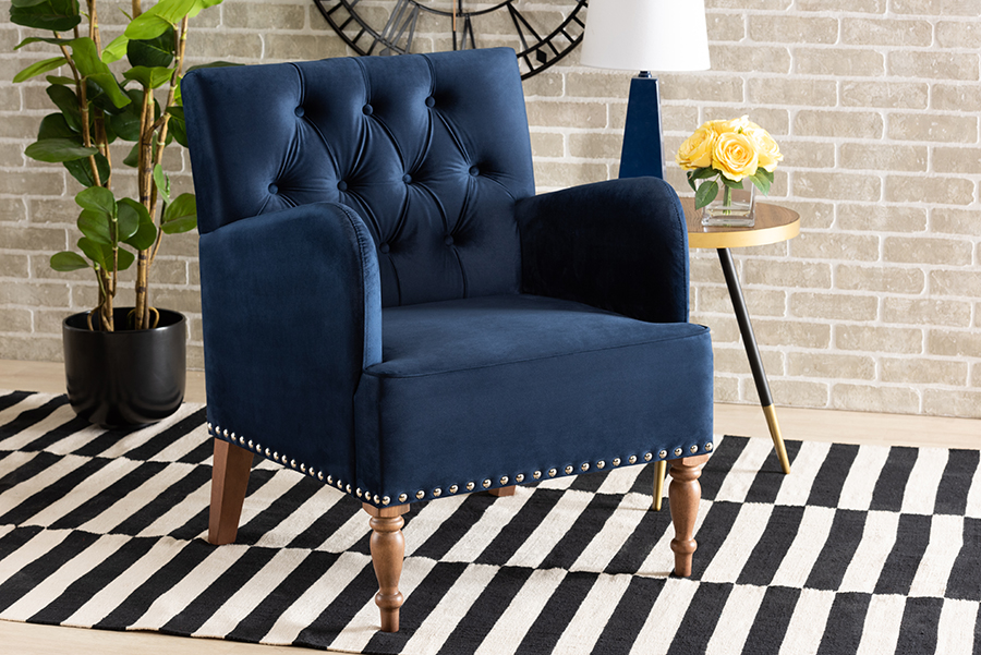 Baxton Studio Eri Contemporary Glam and Luxe Navy Blue Velvet Upholstered and Walnut Brown Finished Wood Armchair