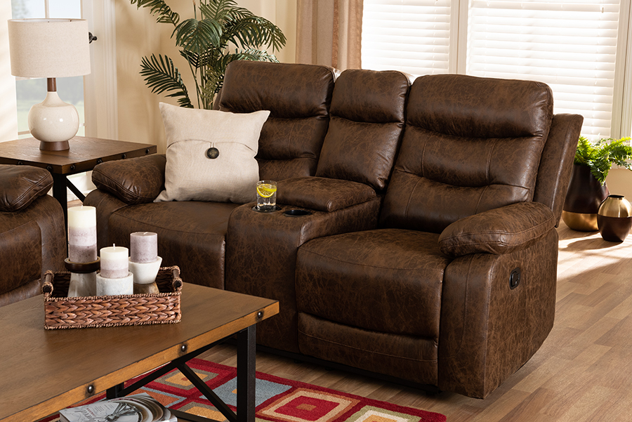 Baxton Studio Beasely Modern and Contemporary Distressed Brown Faux Leather Upholstered 2-Seater Reclining Loveseat