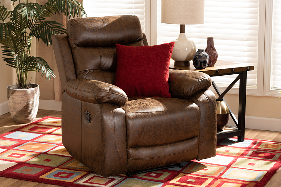 Baxton Studio Beasely Modern and Contemporary Distressed Brown Faux Leather Upholstered Recliner
