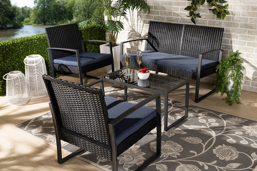 Baxton Studio Greta Modern and Contemporary Dark Blue Fabric Upholstered and Black Finished Metal and Synthetic Rattan 4-Piece P