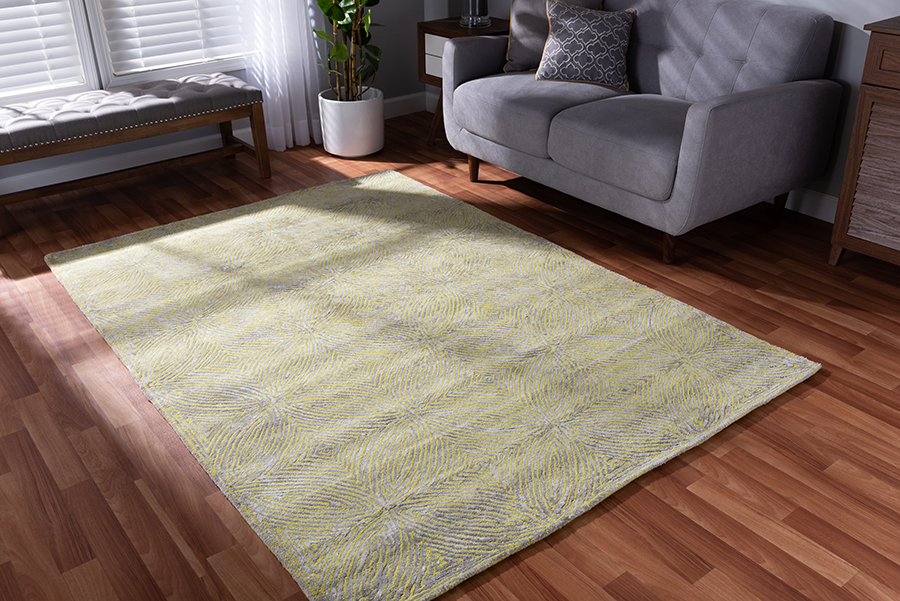 Baxton Studio Leora Modern and Contemporary Lime Green and Grey Hand-Tufted Viscose Blend Area Rug