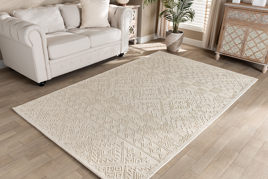 Baxton Studio Linwood Modern and Contemporary Ivory Hand-Tufted Wool Area Rug