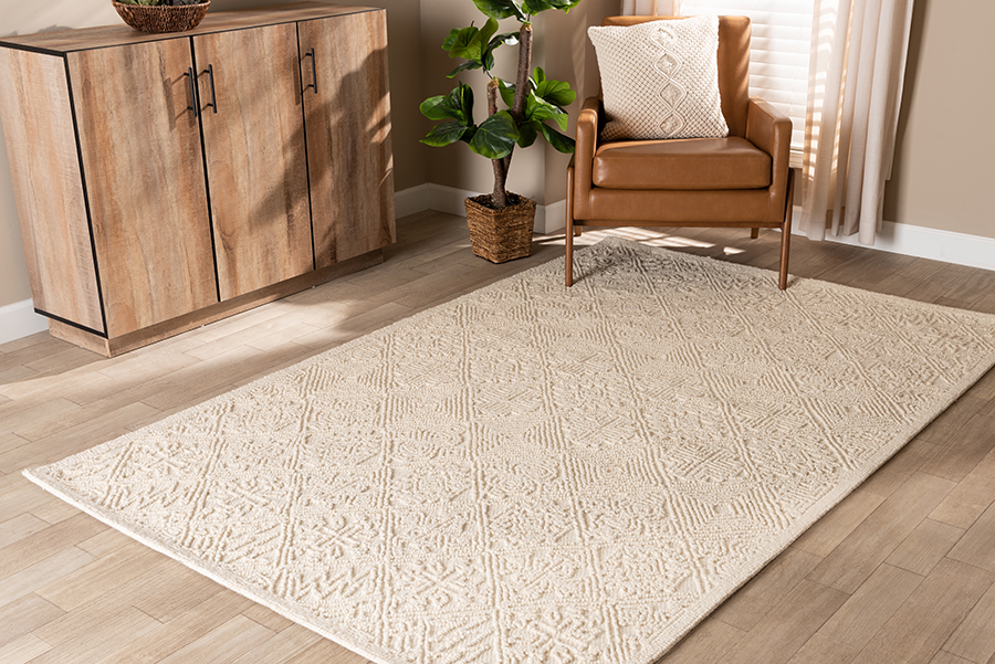 Baxton Studio Meltem Modern and Contemporary Ivory Handwoven Wool Area Rug
