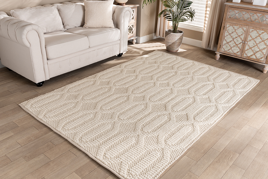 Baxton Studio Murray Modern and Contemporary Ivory Handwoven Wool Area Rug
