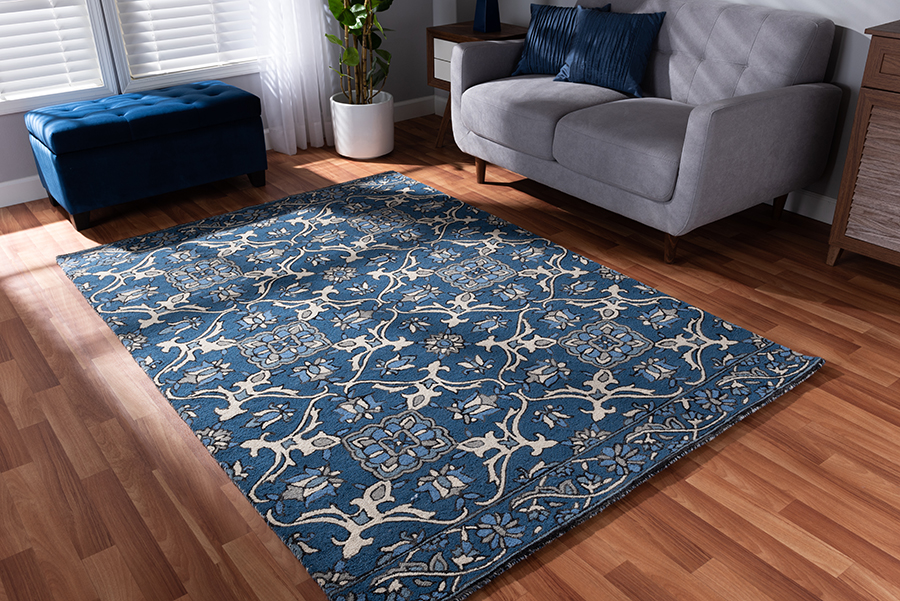Baxton Studio Panacea Modern and Contemporary Blue Hand-Tufted Wool Area Rug