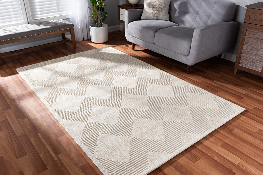 Baxton Studio Sovanna Modern and Contemporary Ivory Hand-Tufted Wool Area Rug