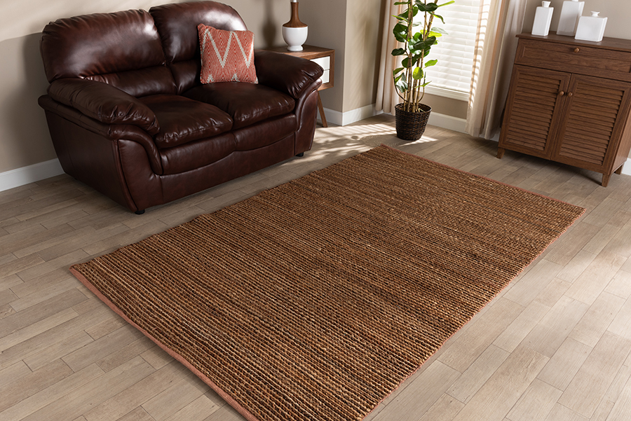 Baxton Studio Zaguri Modern and Contemporary Natural Handwoven Leather Blend Area Rug