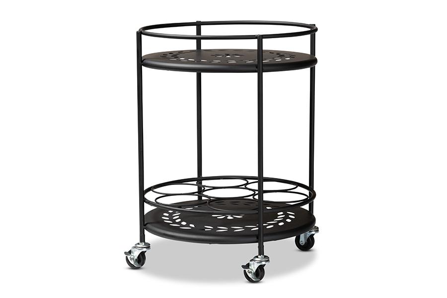 Baxton Studio Dallan Modern Industrial Black Metal 2-Tier Kitchen Cart