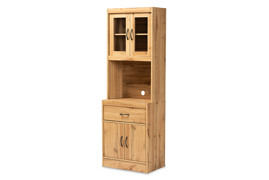 Baxton Studio Laurana Modern and Contemporary Oak Brown Finished Wood Kitchen Cabinet and Hutch