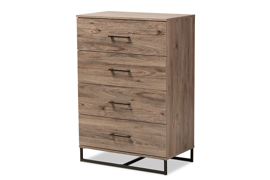 Baxton Studio Daxton Modern and Contemporary Rustic Oak Finished Wood 4-Drawer Storage Chest