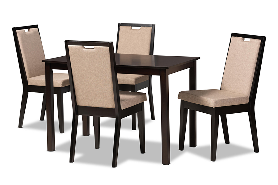 Baxton Studio Rosa Modern and Contemporary Sand Fabric Upholstered and Dark Brown Finished Wood 5-Piece Dining Set