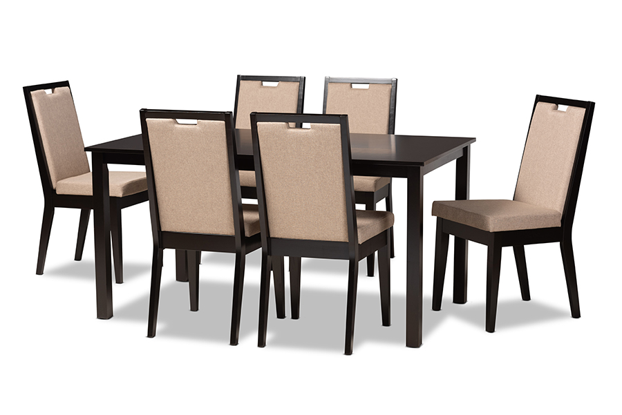 Baxton Studio Rosa Modern and Contemporary Sand Fabric Upholstered and Dark Brown Finished Wood 7-Piece Dining Set