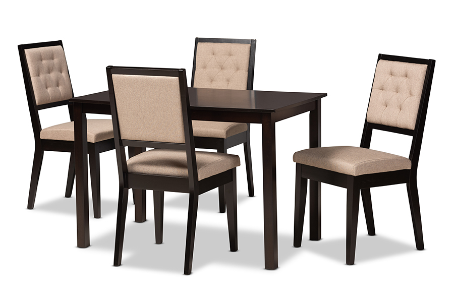 Baxton Studio Suvi Modern and Contemporary Sand Fabric Upholstered and Dark Brown Finished Wood 5-Piece Dining Set