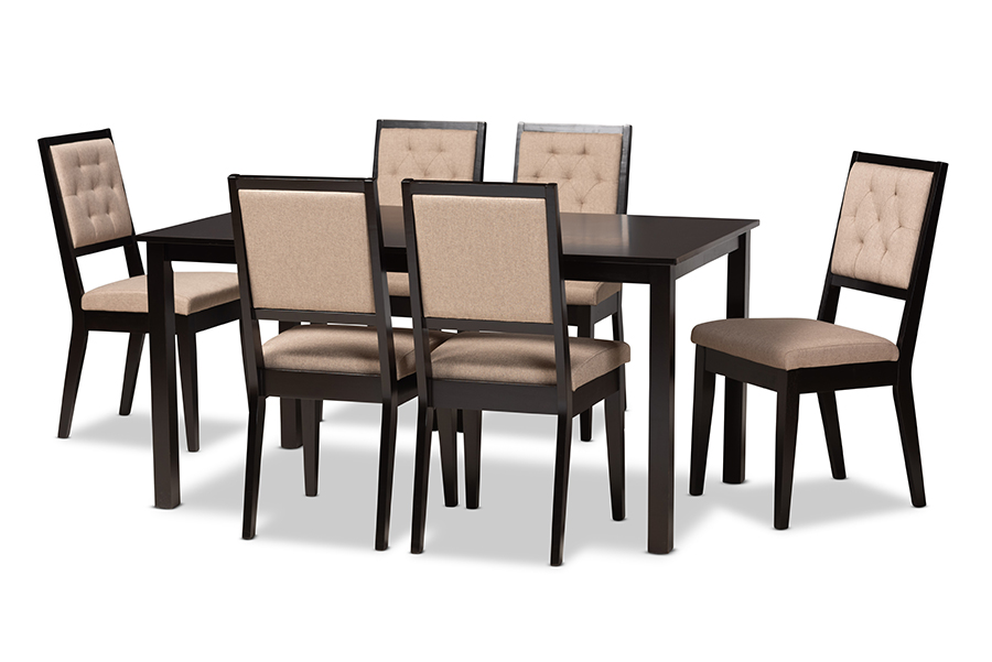 Baxton Studio Suvi Modern and Contemporary Sand Fabric Upholstered and Dark Brown Finished Wood 7-Piece Dining Set