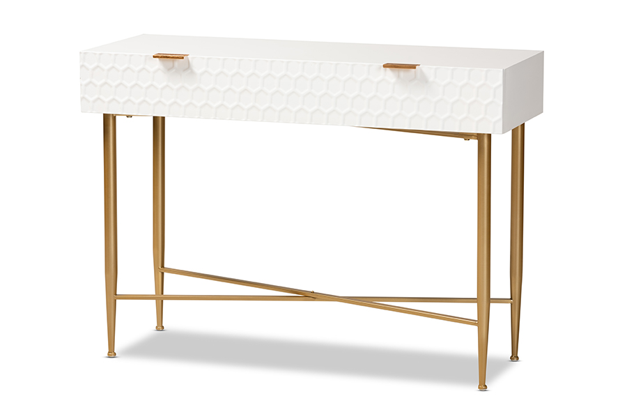 Baxton Studio Galia Modern and Contemporary White Finished Wood and Gold Metal 1-Drawer Console Table