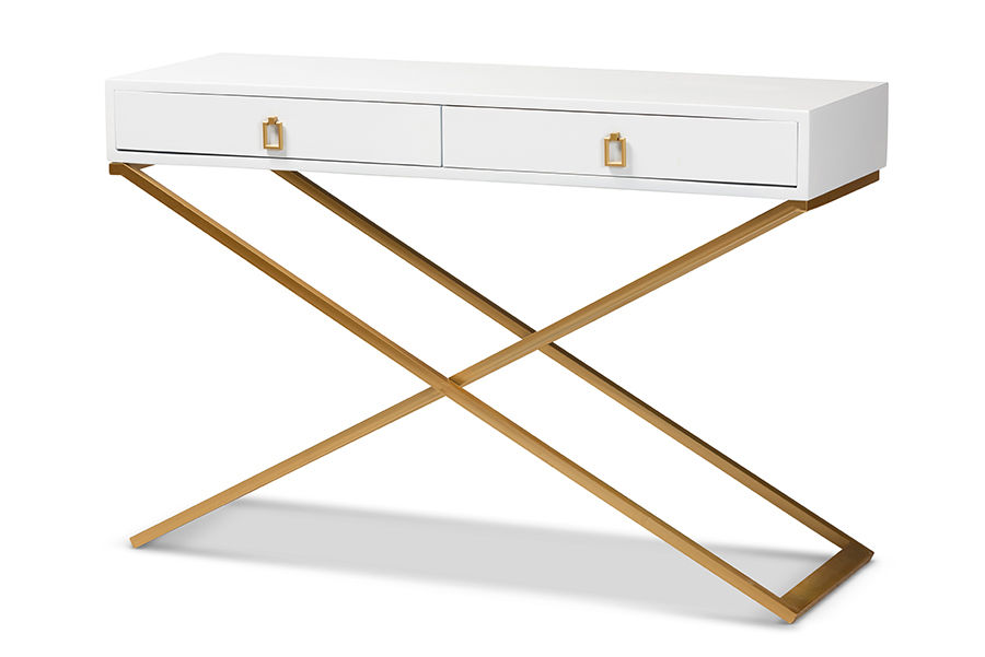Baxton Studio Madan Modern and Contemporary White Finished Wood and Gold Metal 2-Drawer Console Table