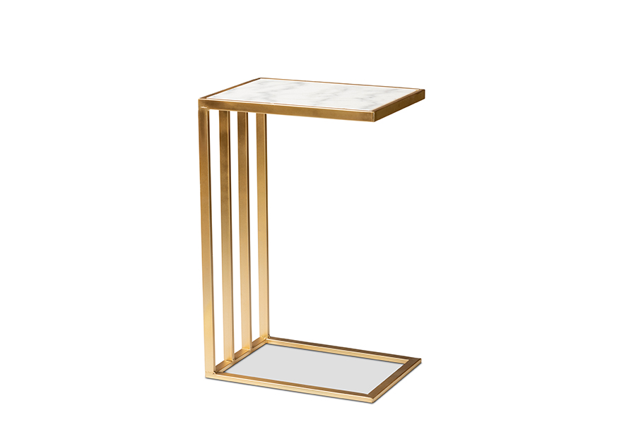 Baxton Studio Parkin Modern and Contemporary Gold Finished Metal C Shaped End Table with Marble Tabletop