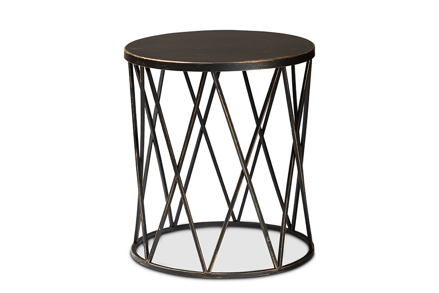 Baxton Studio Finnick Modern Industrial Antique Black finished Metal End Table