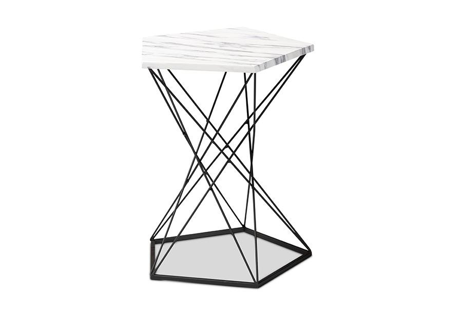 Baxton Studio Oberon Modern and Contemporary Black Finished Metal End Table with Faux Marble Tabletop