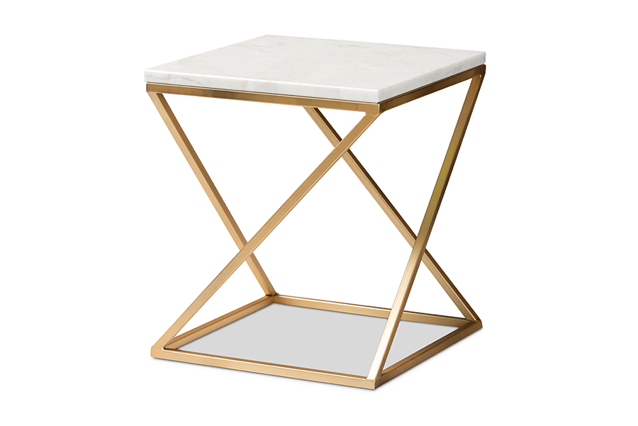 Baxton Studio Hadley Modern and Contemporary Gold Finished Metal End Table with Marble Tabletop